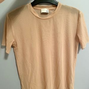 Aritzia's Wilfred Free mesh Jamila T-shirt in nude